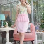 XL915 ชุดเดรสเสื้อลูกไม้เกาหลีเนื่อยืดหยุ่นสูง ลวดลายสวยงามสีหวาน กระโปรงชีฟอง