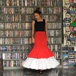 Vintage skirt :กระโปรงวินเทจ งานสเปนแท้ made in spain.แพทเทิร์นทรงหางปลาแต่งระบาย 2ชั้น