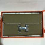 Hermes Constance Epsom Leather Long Wallet สีเทา