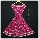 Vintage dress : เดรสวินเทจ ทรงคอปาด เอวจ๊ำ ผ้าคอตต้อนสีสด