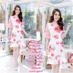 ราคา1ชุด 390 ฿ 3ชุดส่ง 360 ฿ ชุดเดรสผ้า Linin ทอลายดอก พื้นสีขาว ดอกชมพูแดง จุดเด่นของชุดนี้อยู่ที่ลวดลายบนผ้า