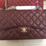 Chanel Classic Jumbo Caviar Leather สีแดงเลือดนก Hiend Original