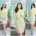 M,L,XL,2XL ชุดเดรสเสื้อคลุมผ้า Varantino แยกชิ้น ชุดเป็นผ้าคอตตอลปักไหมญี่ปุ่นผ้านำเข้าสีเหลือง ปักฉลุ