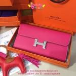 Hermes Constance clutch wallet สีชมพูบานเย็น