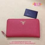 Prada Zippy Saffiano Leather Wallet สีแดง งานHiend