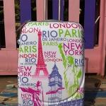 กระเป๋าเดินทาง ลาย London โทนสีขาว ขนาด 28 นิ้ว