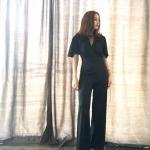 Vintage jumpsuit : จั๊มสูทวินเทจ ขายาวสีดำ แขนบาน งาน us.