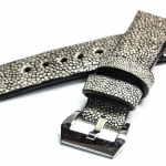 Gray Genuine Leather Back Stingray Leather Watch Strap Pam Buckle 24 mm
