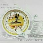 นาฬิกาตั้งโต๊ะเก๋ๆวินเทจสไตล์ เหล็กดัดสีขาว มีตะกร้าใส่ของด้านหลัง