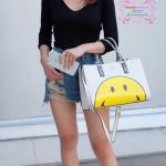 กระเป๋า Anya Hindmarch Smiley Tote bag สีขาว งานTOP MIRRORเกาหลี