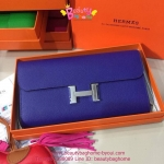 Hermes Constance clutch wallet สีน้ำเงินอมม่วง