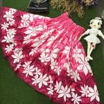 Vintage skirt : กระโปรงฮาวายสีบานเย็น ทรงบานวงกลม เนื้อผ้าคอตต้อน ยังไม่ผ่านการใช้งานค่ะ