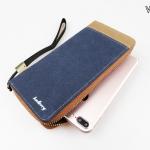 ( ลดล้างสต๊อค ) WL02-Blue กระเป๋าสตางค์ใบยาว กระเป๋าสตางค์ผู้ชาย ผ้าแคนวาส สีน้ำเงิน