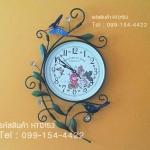 นาฬิกาติดผนังตกแต่งบ้าน Vintage Style รูปช่อดอกไม้ + ผีเสื้อ + นก