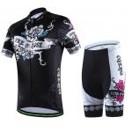 พร้อมส่ง >> ชุดปั่นจักรยาน New 2016 รุ่นใหม่ล่าสุด CJ ชุดปั่นจักรยาน คุณภาพดี ลายกุหลาบดำขาว