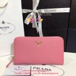 Prada Saffiano Leather Zippy Wallet สีชมพู