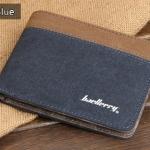 ( ลดล้างสต๊อค ) WS01-Blue แนวนอน กระเป๋าสตางค์ใบสั้น กระเป๋าสตางค์ผู้ชาย ผ้าแคนวาส สีน้ำเงิน