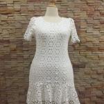 XL124 ชุดเดรสผ้าลูกไม้เนื้อดี สีขาว ชายระบาย ใส่เข้ารูปทรงสวยงามดค่ะ ใส่ได้หลายโอกาส ใส่ทำงานเรียบร้อย