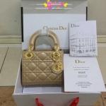 Dior lady mini 7 นิ้ว สีครีมทอง
