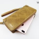 ( ลดล้างสต๊อค ) WL07-Khaki กระเป๋าสตางค์ใบยาว กระเป๋าสตางค์ผู้ชาย หนัง PU สีกากี