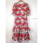 Vintage dress :เดรสฮาวายสีแดงลายดอก แต่งระบายสองชั้น เนื้อผ้าคอตต้อน