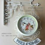 นาฬิกาแขวนติดผนัง 2 หน้า สีขาว งานเหล็กสไตล์วินเทจ Vintage ห้อยป้าย Welcome