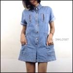 Vintage jumpsuit : จั๊มสูทยีนส์นขาสั้น เอวจั๊ม กระดุมหน้า แต่งกระเป๋าบน/ล่าง สามารถใช้งานได้จริง