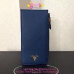 Prada Saffiano Leather Wallet สีน้ำเงิน