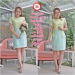 Code : M170 ชุดเดรสเสื้อผ้าคอตตอลปักไหมญี่ปุ่นผ้านำเข้า สีเขียวปักฉลุสวยมาก แต่งระบายด้านข้างรอบสะโพก