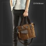 CV19-Brown กระเป๋าถือผู้ชาย + สะพายข้าง MO&Y ผ้าแคนวาส สีน้ำตาล