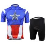 **สินค้าพรีออเดอร์**ชุดจักรยาน กัปตันอเมริกา (เสื้อจักรยานแขนสั้น+กางเกงจักรยานขาสั้น) สายปั่นซุปเปอร์ฮีโร่ ต้องมีจ้า