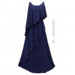vintage dress : แม็กซี่เดรสแขนกุด สีน้ำเงินกรมท่า แต่งระบายเฉียงหน้า/หลัง เนื้อผ้าชีฟองพร้อมซับใน