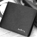 WS04-Black กระเป๋าสตางค์ใบสั้น แนวนอน กระเป๋าสตางค์ผู้ชาย หนัง PU เกรดเอ สีดำ