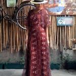 vintage dress : แม็กซีเดรสสีน้ำตาลแขนกุด แต่งระบายแขน แพทเทิร์นเข้ารูป เนื้อผ้าชีฟองพร้อมซับใน