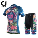 พร้อมส่ง >> ชุดปั่นจักรยาน New 2016 รุ่นใหม่ล่าสุด CJ ชุดขี่จักรยาน คุณภาพดี ลายดอกไม้น้ำเงิน