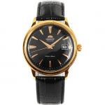 Orient Automatic Black Dial Gold Tone Leather Strap FER24001B