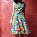 Vintage dress : เดรสสั้นแขนกุด ผ้าคอตต้อน มีสายผูกปรับระดับเอว ลายสวย สีสด มีกระเป๋าข้างด้วยค่ะ