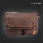 LT32-Brown กระเป๋าสะพายข้าง หนัง PU สีน้ำตาล X-LARGE