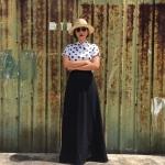 Vintage skirt : กระโปรงยาววินเทจเอวสูง แพทเทิร์นทรงเอ สีดำสนิท ผ้าเนื้อดีมีความหนา มีน้ำหนัก