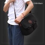 CV09-Black กระเป๋าสะพายข้าง ผ้าแคนวาส สีดำ