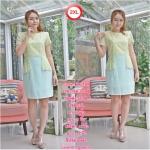 Code : 2XL184 ชุดเดรสเสื้อผ้าคอตตอลปักไหมญี่ปุ่นผ้านำเข้า สีเขียวปักฉลุสวยมาก แต่งระบายด้านข้างรอบสะโพก