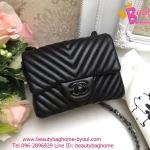 Chanel mini chevron สีดำ งานTOP MIRRORเกาหลี