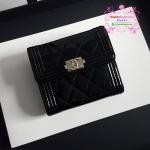 Chanel boy wallet สีดำ หนังแก้ว งานHiend Original