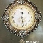 นาฬิกาติดผนัง ตัวเรือนสีน้ำตาลทอง ประดับดอกกุหลาบแต่งลวดลายสวยๆไม่เหมือนใคร