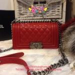 Chanel Boy สีแดง 8 นิ้ว