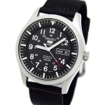 Seiko 5 Sport Mens Automatic Military 100M Black Strap SNZG15