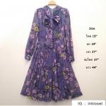 vintage dress : เดรสวินเทจสีม่วงลายดอก ทรงเข้ารูป กระโปรงจีบรอบ เนื้อผ้าชีฟองพร้อมซับใน
