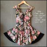 Vintage dress : มินิเดรสฮาวาย กระโปรงระบาย 2 ชั้นบานย้วยวงกลม เนื้อผ้าคอตตอน น่ารักสุดๆเลยค่ะ