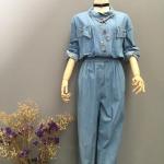 Vintage jumpsuit : จั๊มสูทยีนส์ เอวจั๊ม ปักลูกเล่นด้วยมุก คอเก๋ ผ้ายีนส์เนื้อนิ่ม