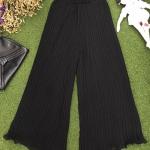 Vintage pants : กางเกงวินเทจขาบานสีดำ อัดพลีทรอบตัว ทรงสวย พลีทไม่แตกนะคะ มีซับในเต็มตัว